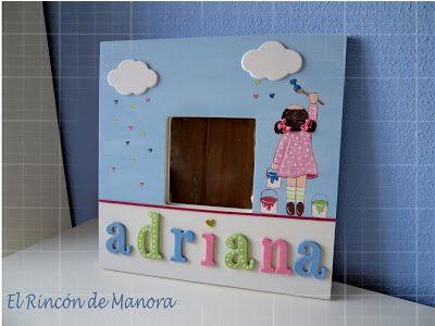 Espejo para adriana pintado a mano cuadros y espejos for Espejos infantiles