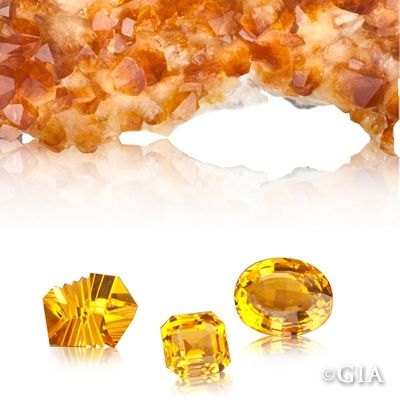 One of November\u0027s birthstones, citrine, shown in rough and in
