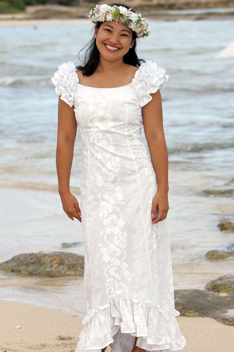Wailea Wedding Ruffle Shoulder Muumuu from Hawaiian Outpost or this ...