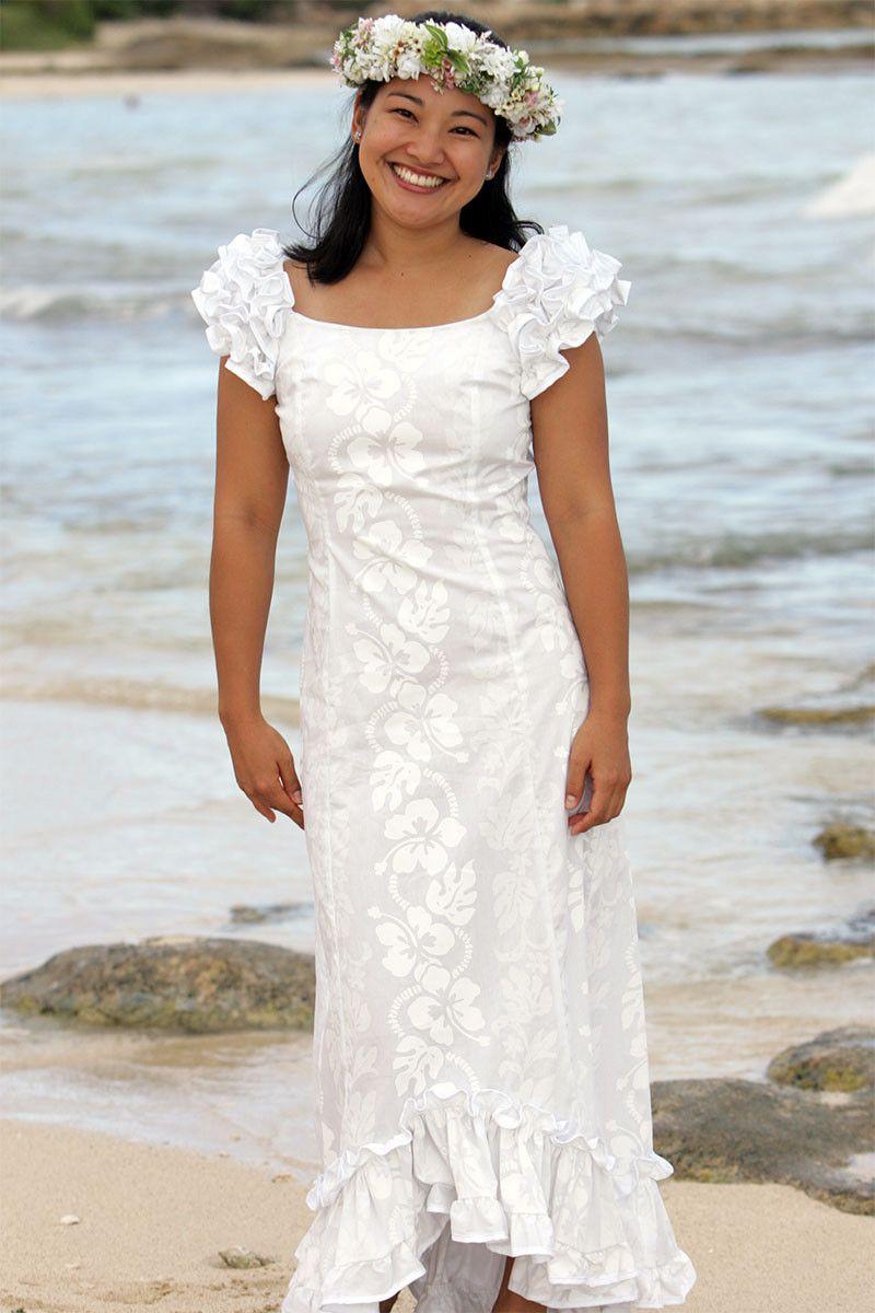 Wailea Wedding Ruffle Shoulder Muumuu from Hawaiian Outpost or this ...