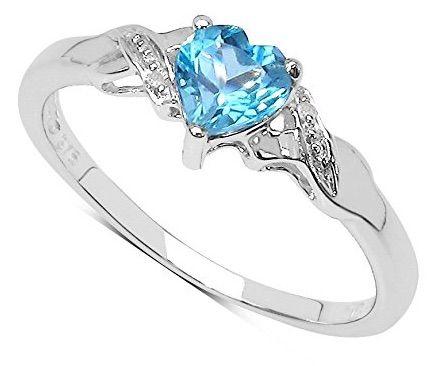 887c5b8792de Colección Anillo Topacio-Anillo de compromiso Oro Blanco 9 kilates con  corazón de Topacio Azul y set Diamantes en los hombros
