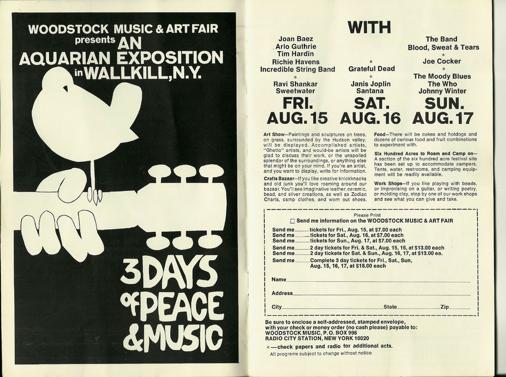 Sold 1969 Jefferson Airplane Program With Original Woodstock Ad