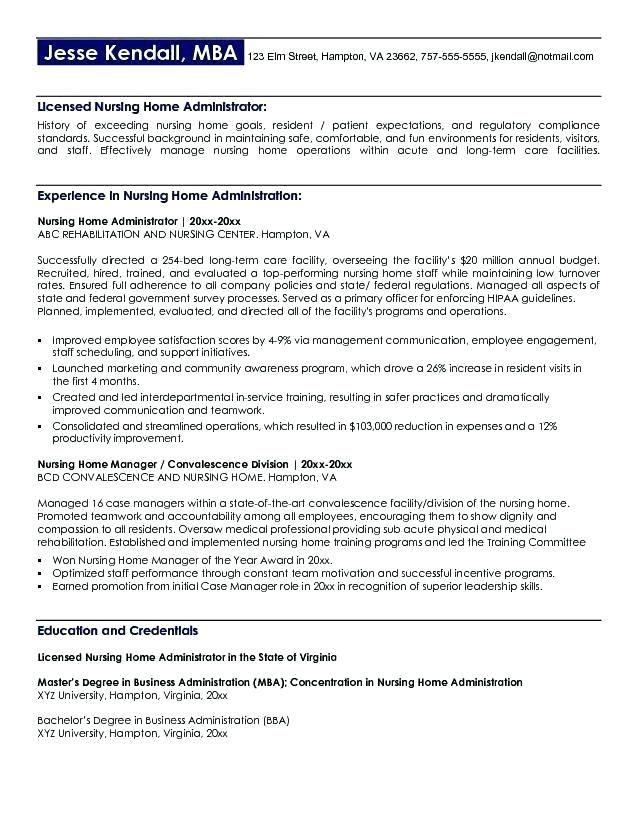Nursing Home Administrator Resume Nursing home