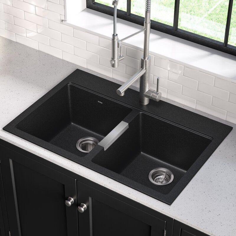 Quarza33 L X 22 W Dual Mount Kitchen Sink Black Kitchen Sink Drop In Kitchen Sink Double Basin Kitchen Sink