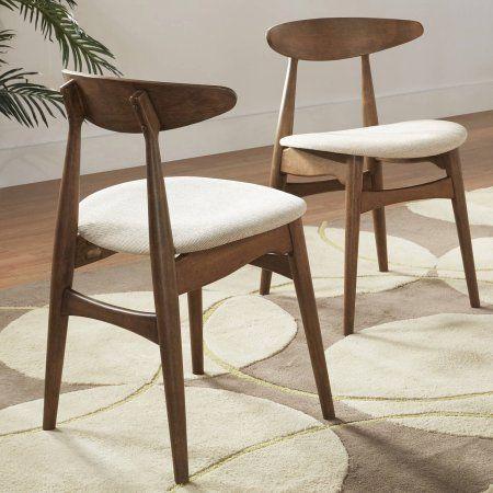 Chelsea Lane Mid Century Modern Beige Fabric Side Chairs, Set of 2, Walnut