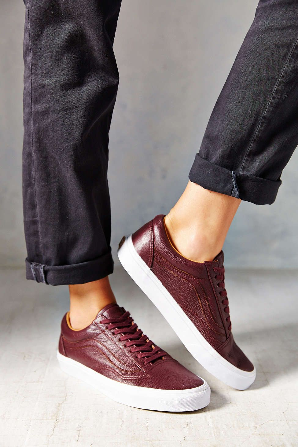 Vans Old Skool Premium Leather Low Top Women's Sneaker   Top