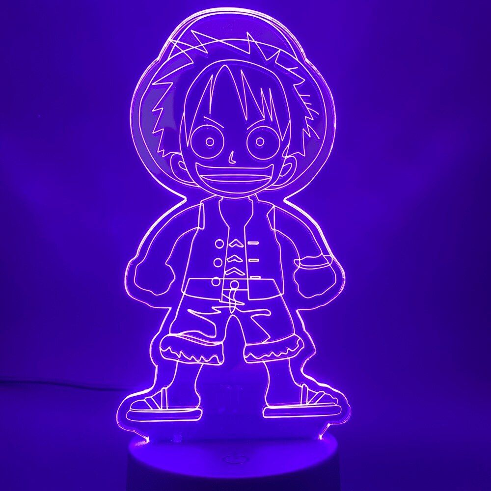 Japanese Anime One Piece Cute Monkey D Luffy Figure Nightlight For Child Birthday Gift Kids Bedroom Deco 3d Led Night Light Lamp In 2020 3d Led Night Light Birthday Gifts For