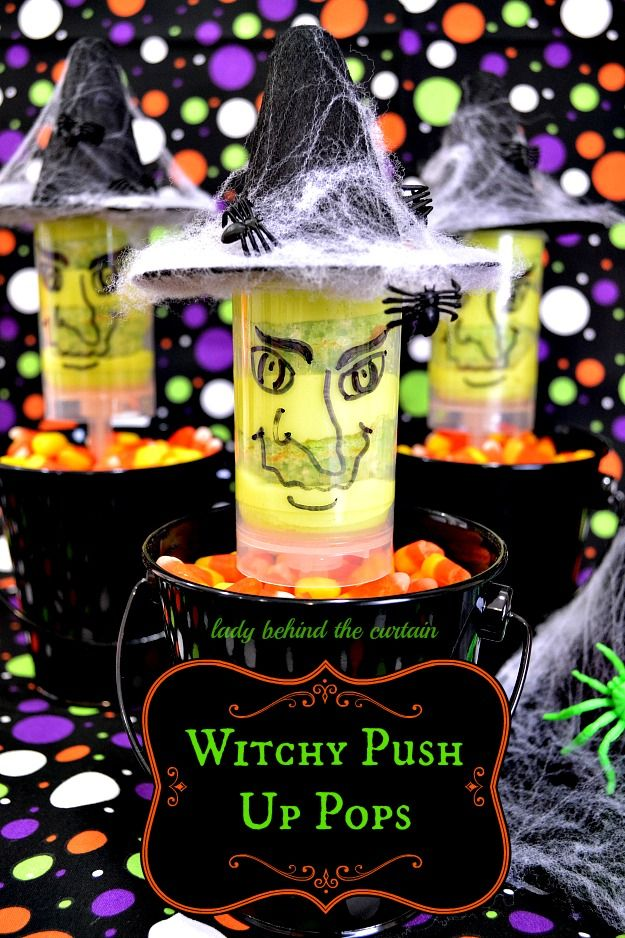 These witchy push up pops are easy to make and add something special to a cupcake!  Filled with lemon lime cupcakes and lime cream cheese frosting.  Not only cute but tasty too!