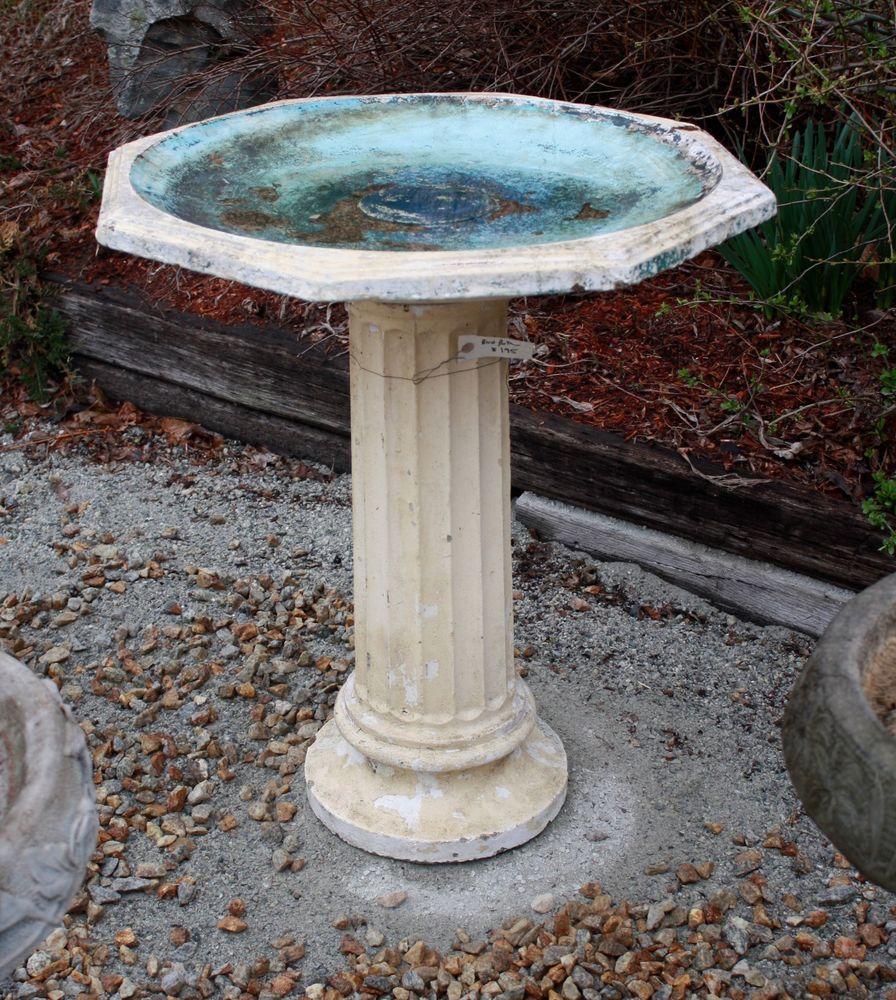 Large Antique Cement Bird Bath Original Paint Bird Bath Bird Bath Garden Modern Fire Pit