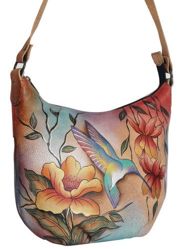 3aa66340d5e ANUSCHKA HAND PAINTED HUMMINGBIRD   FLOWERS ON LEATHER MEDIUM BUCKET HOBO-  eBay.....love Anuschka purses