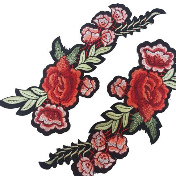 98973ba54a60d Embroidered Gucci Style Patch, Iron On Flower Patch, Embroidered ...