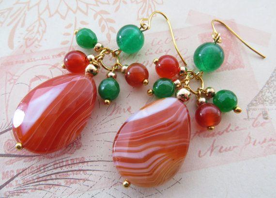 Agate Earrings Orange Gemstone Green Jade Stone Drop