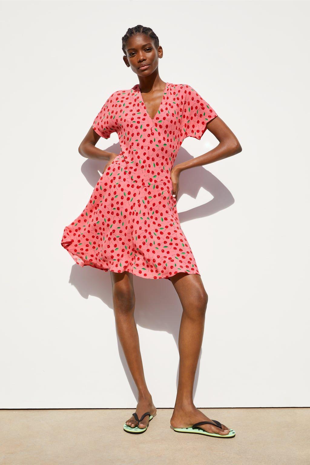 estilo exquisito mejor selección de precio al por mayor Vestido estampado cerezas | Moda in 2019 | Dresses, Short ...
