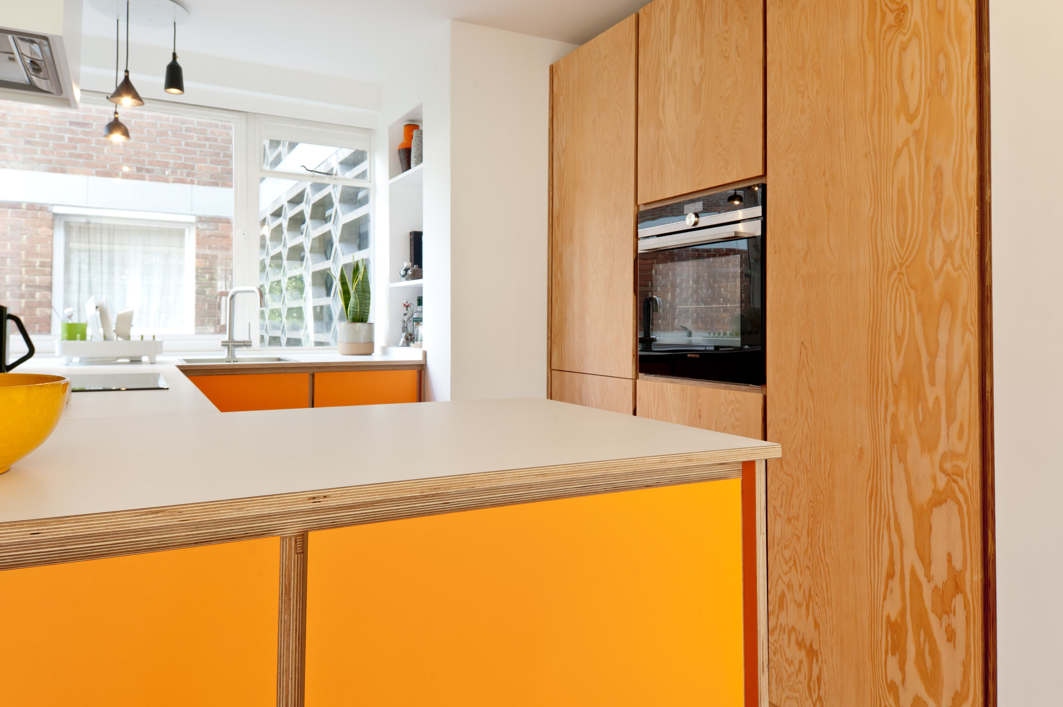 Orange Formica And Douglas Fir Finishes In 2019 Plywood Kitchen Kitchen Units Kitchen Colors