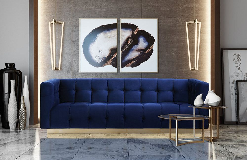Michelle Williams How To Add Color To Home Decor Advice Navy Velvet Sofa Velvet Furniture Gold Sofa