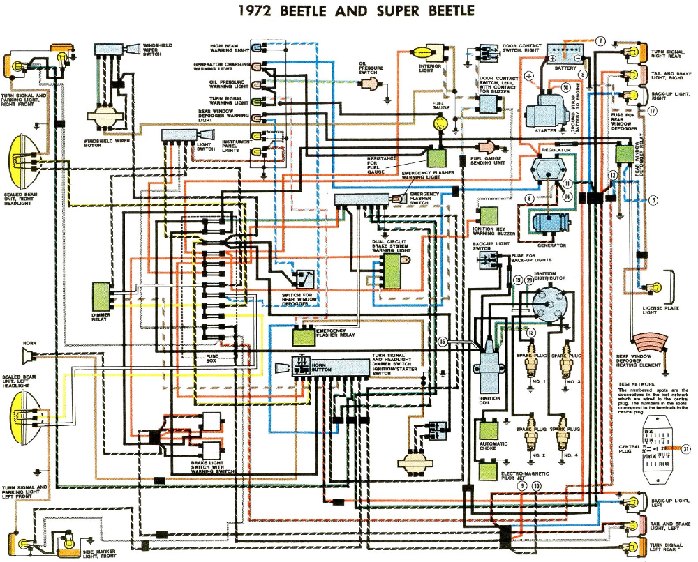 1972 Beetle Wiring Diagram Thegoldenbug Com Vw Super Beetle Diagram Design Volkswagen Car