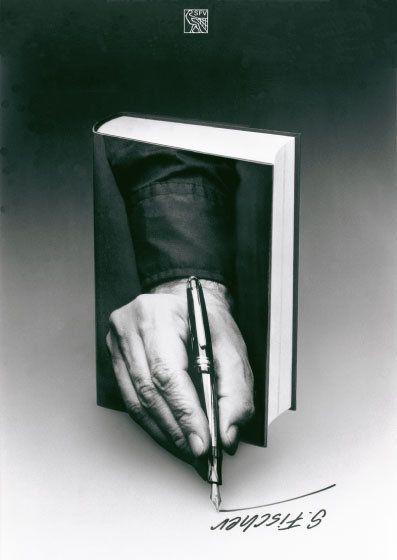 Writing a book - Books, books, books… / Libros, libros, libros…. (carteles de Gunter Rambow para la editorial alemana S. Fischer Verlag)
