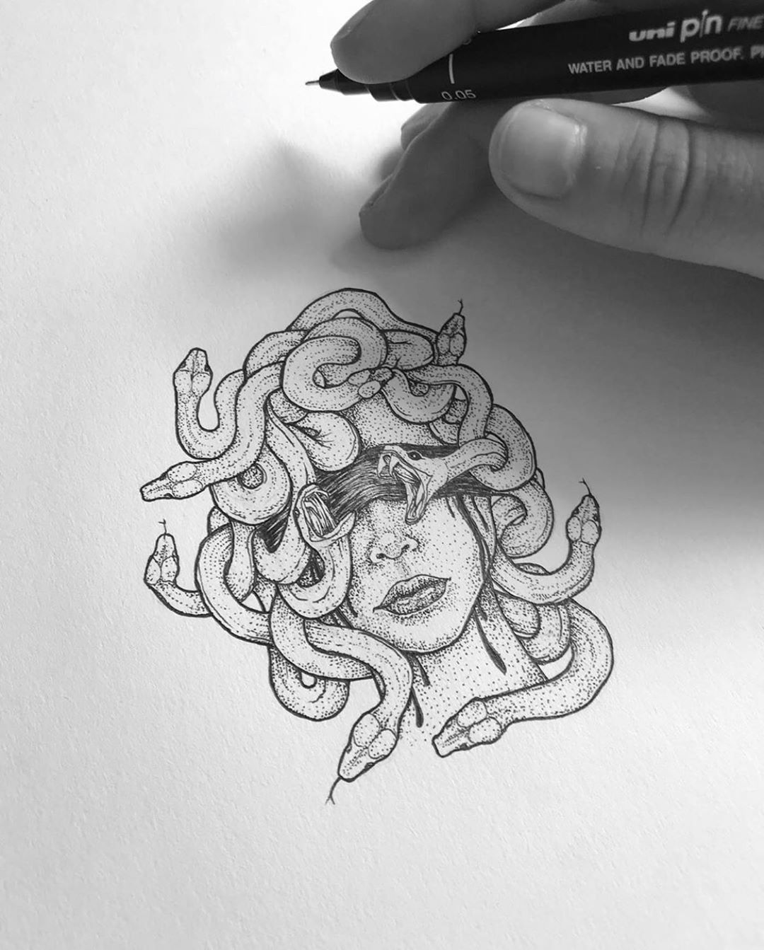 12 8k Likes 61 Comments Pen Ink Illustrations Penandink Art On Instagram Comment Medusa In Your Language In 2020 Tattoos Hand Tattoos Medusa Tattoo Design