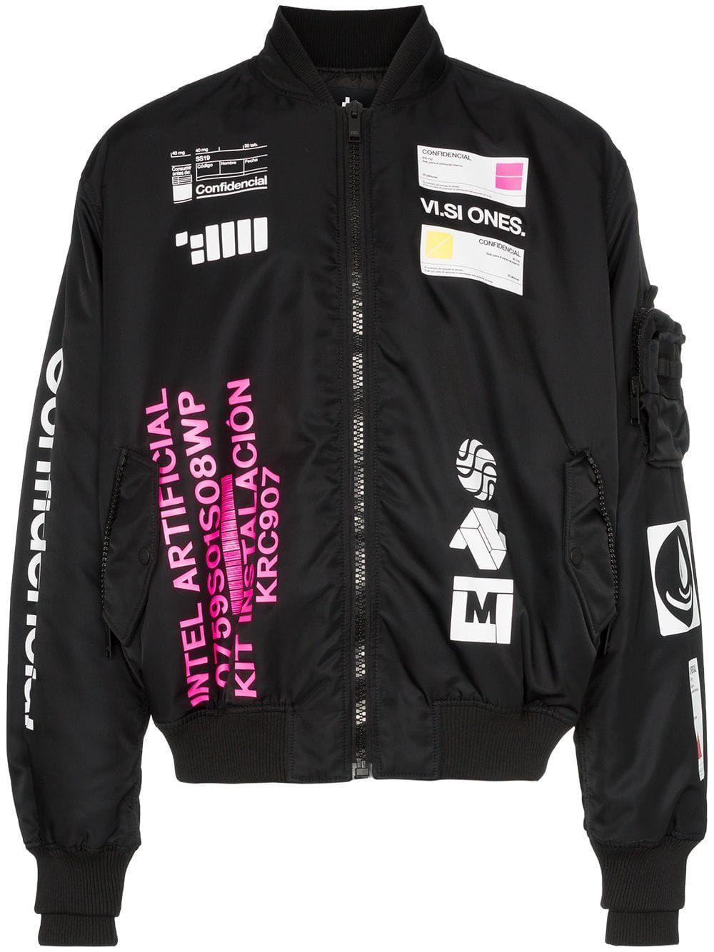 Marcelo Burlon County Of Milan Logo Print Rear Graphic Bomber Jacket Farfetch Designer Bomber Jacket Streetwear Jackets Bomber Jacket Design [ 1334 x 1000 Pixel ]