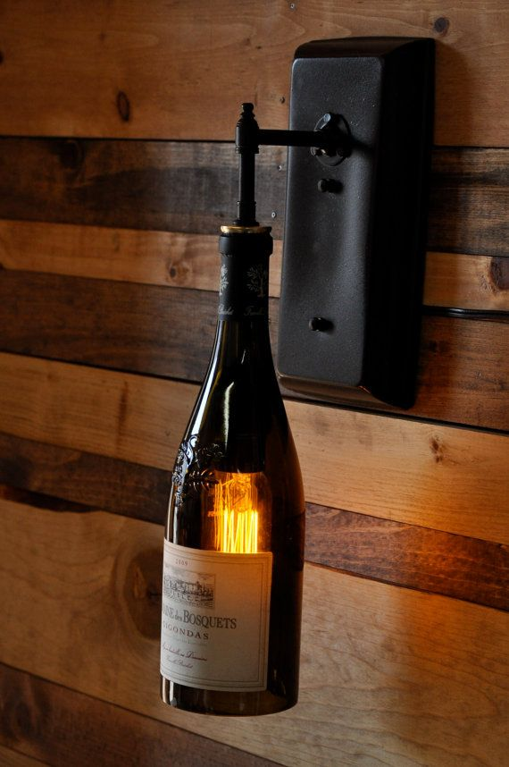 Recycle Bouteille De Vin Mural Applique Eclairage Rustique Pour