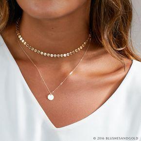Collar de gargantilla delicada, gargantilla de oro, collar de gargantilla, en plata de ley, relleno de oro, collar de capas perfectas