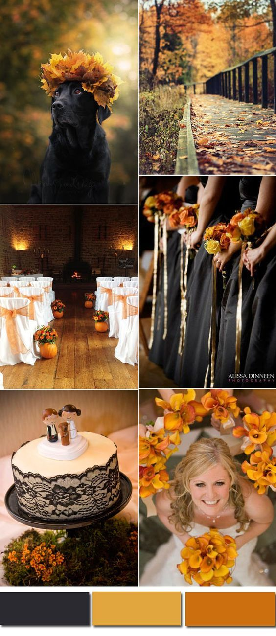 Five Awesome Fall Wedding Colors In Shades of Black is part of Halloween themed wedding - Today's topic is still about fall and autumn wedding colors and this post is typically for those brides who are in favor of blacks  We have selected five beautiful color combinations in shades of the classic b