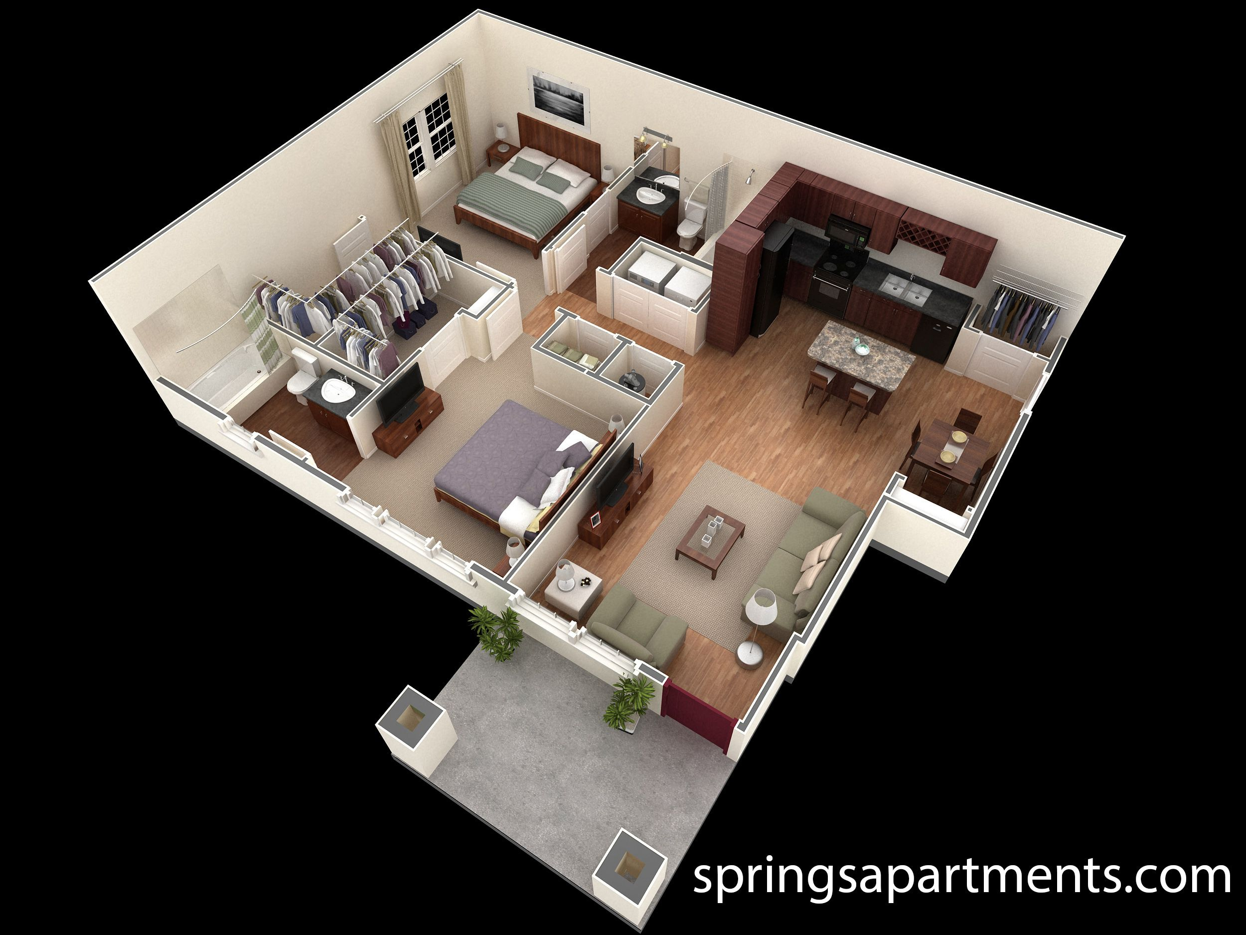 2 Bedroom 2 Bath 1062 Sf At Springs At Creedside This 2 Bedroom Designer Courtyard Apartment Comes With 2 Large Walk Planos De Casas Casas En 3d Apartamentos