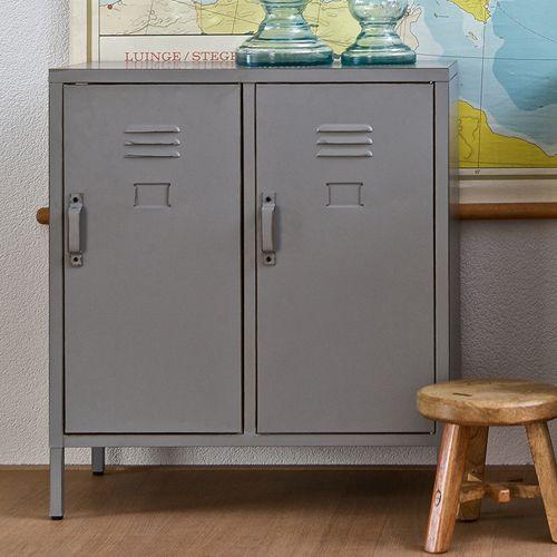 Buffet bas type casier en métal gris 2 portes 1 étagère Max