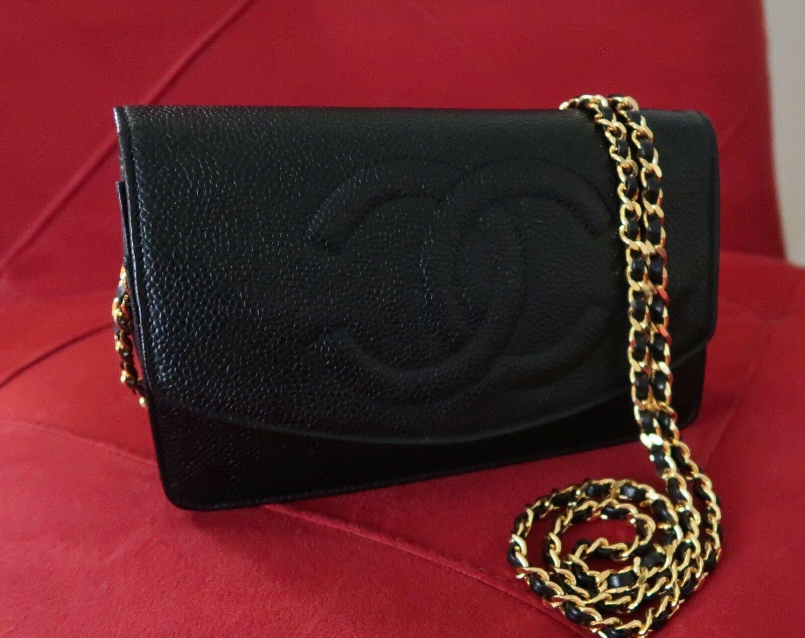 852d1523f49e Details about CHANEL Authentic Caviar Wallet On Chain WOC Black MINI ...
