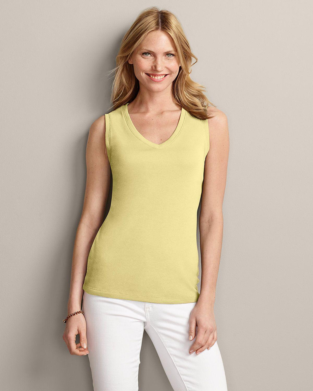 Women's Favorite Sleeveless V-neck T-shirt | Eddie Bauer
