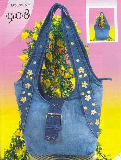 5701ed278 Bolso tela jeans | Manualidades y accesorios | Bolsos, Bolsos de ...