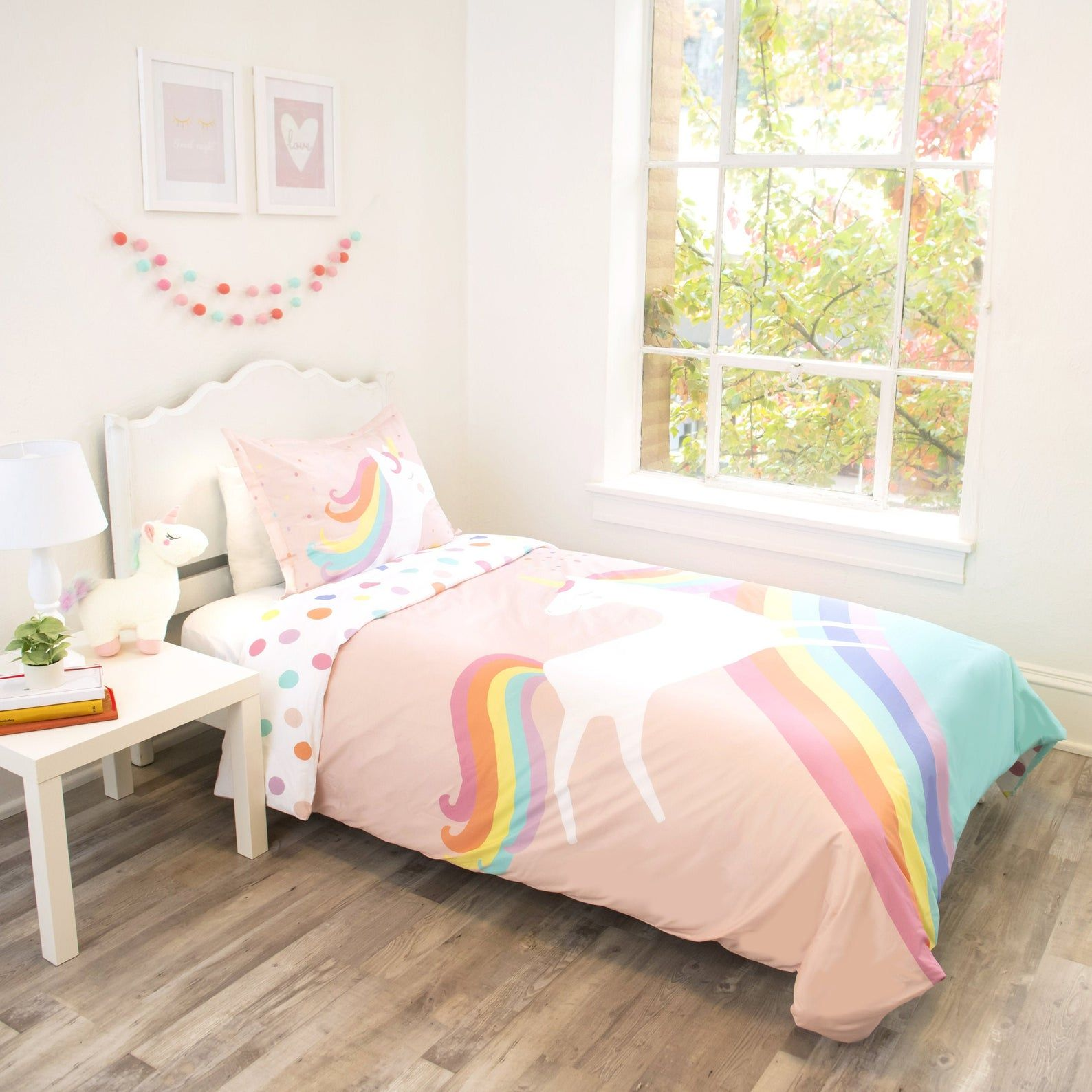 unicorn bedding twin duvet cover and sham  organic cotton