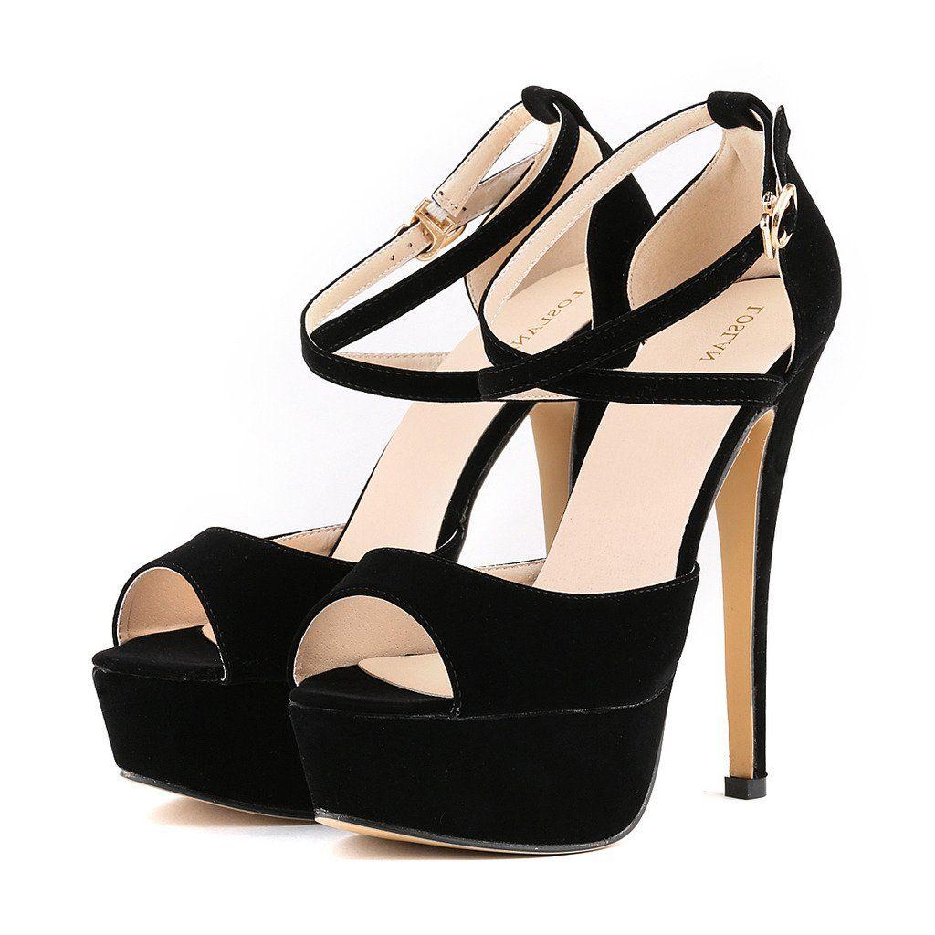 cd83d54c638ca ZriEy Women Sandals 14CM / 5.5 inches High-heeled Peep Toe Platform High  Heel Party Sandals Wedding Working shoes Velvet Black size 5