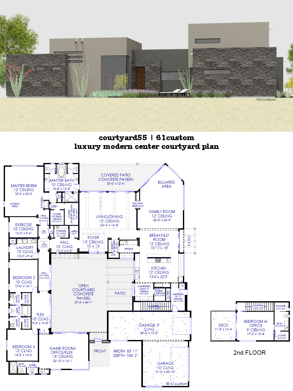 5513 sq ft luxury modern house plan with center front courtyard and large entertaining spaces