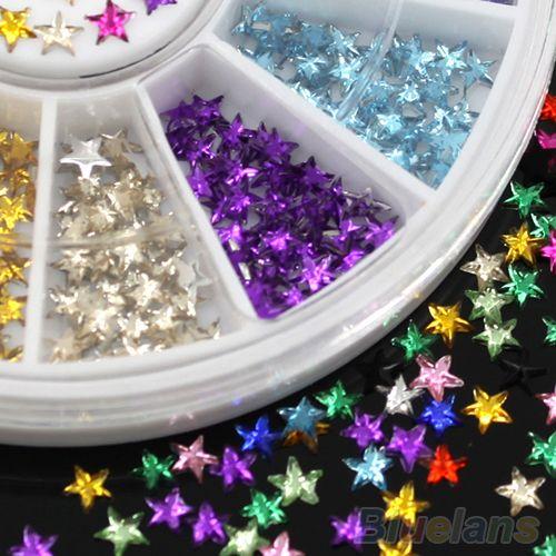 12 Kleuren 3D Pentagram Stickers DIY Decoratie Beauty Studs Nail Art Tips Wiel 4BNT