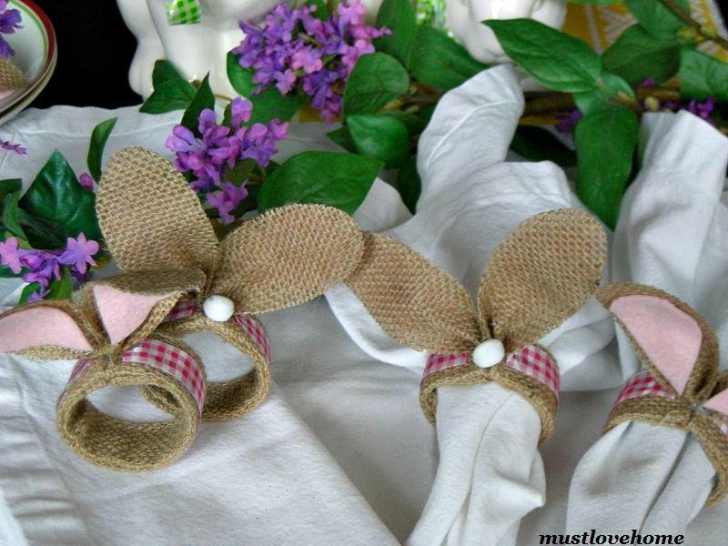 Rustic Bunny Napkin Rings Bunny napkins, Napkin rings
