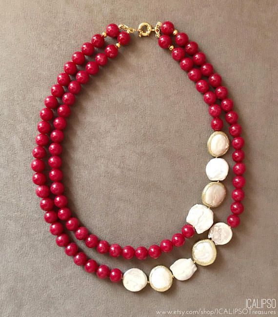 Photo of Double strand necklace, red necklace for women, birthday gift for mom, ruby neck…