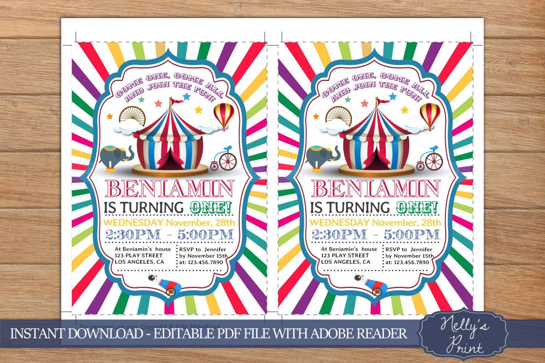 Circus Birthday Invitation, Circus Party Invitation, Circus Party ...
