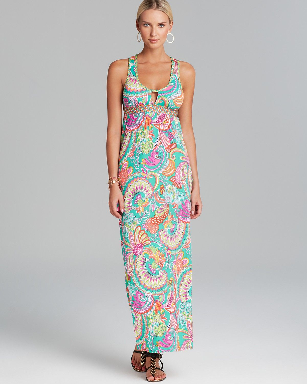 Trina Turk Festival Folkloric Knit Covers Long Swim Cover Up Maxi Dress | Bloomingdale's