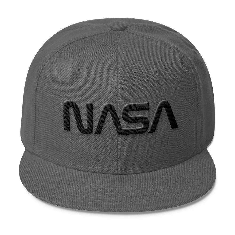 "NASA ""Worm"" Logo Wool Blend Snapback Hat Black on"