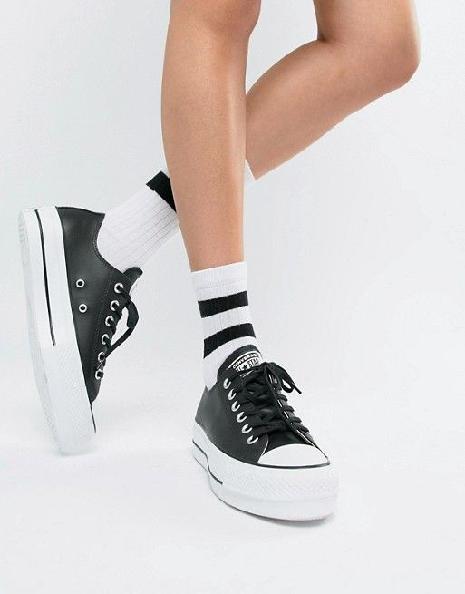 f2d90e614 Converse Chuck Taylor All Star leather platform low sneakers in black in  2019