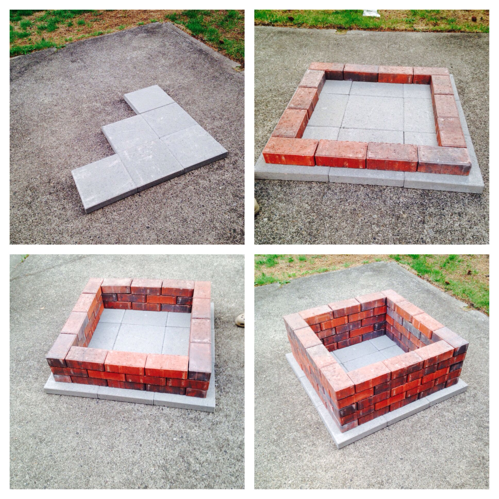Diy Firepit 70 Regular Sized Bricks Stacked 5 High 9 Square Concrete Stepping Stones All Under 50 To Make Bou Brick Fire Pit Square Fire Pit Backyard Fire