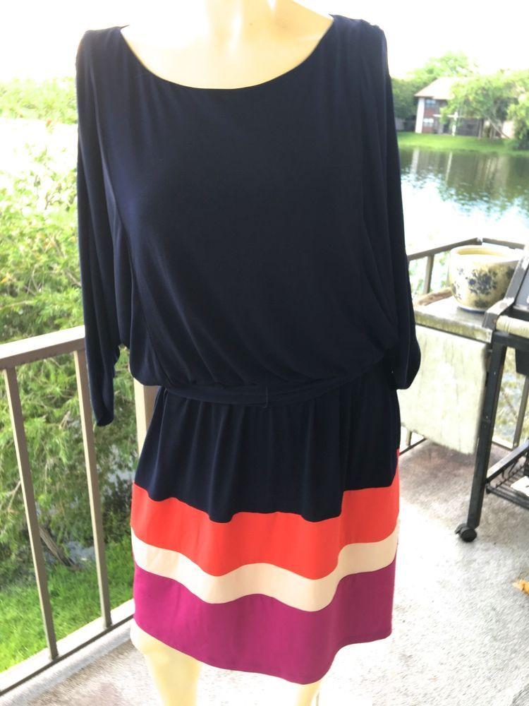 Jessica Howard Dress Batwing Sleeve Color Block Skirt Jersey  16, Navy/Multi #JessicaHoward #Sheath #Casual