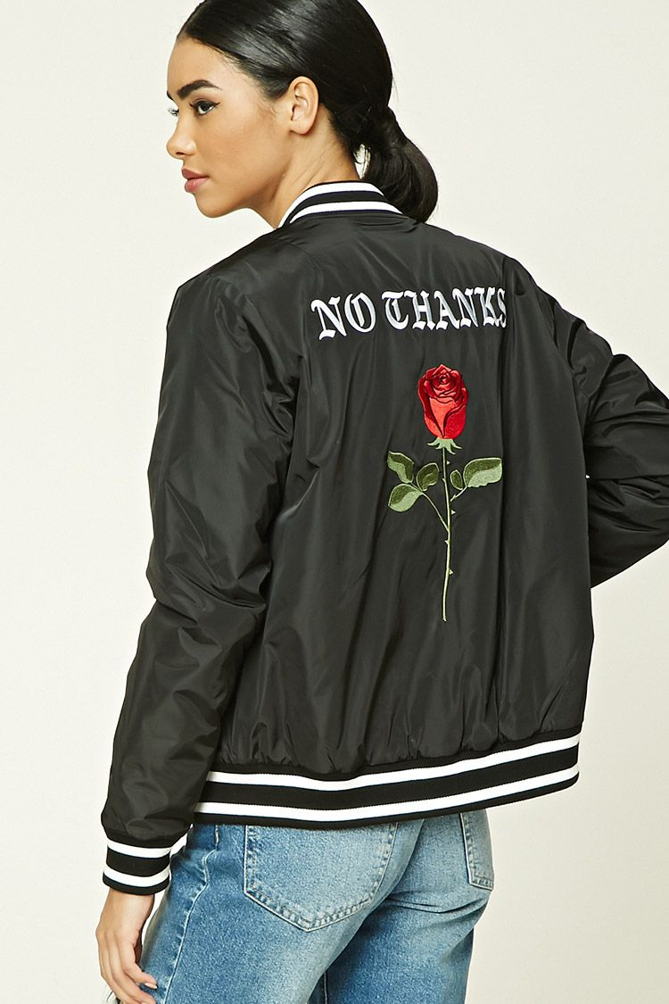 A Satin Padded Bomber Jacket Featuring A Back Embroidery With A Rose And A No Thanks Graphic A Zip Front Varsity Bomber Jacket Satin Bomber Jacket Jackets [ 1125 x 750 Pixel ]