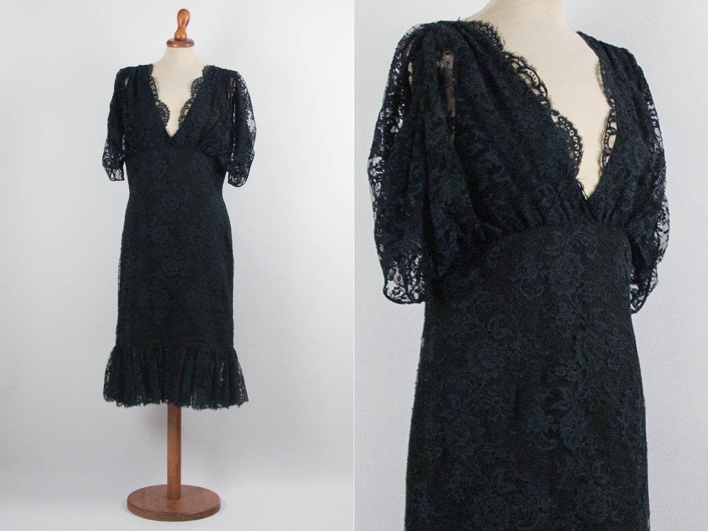 40s Lace Dress Romantic Vintage Black Color Gipsy Dress Etsy Lace Dress Dresses Tailored Dress [ 1092 x 1455 Pixel ]