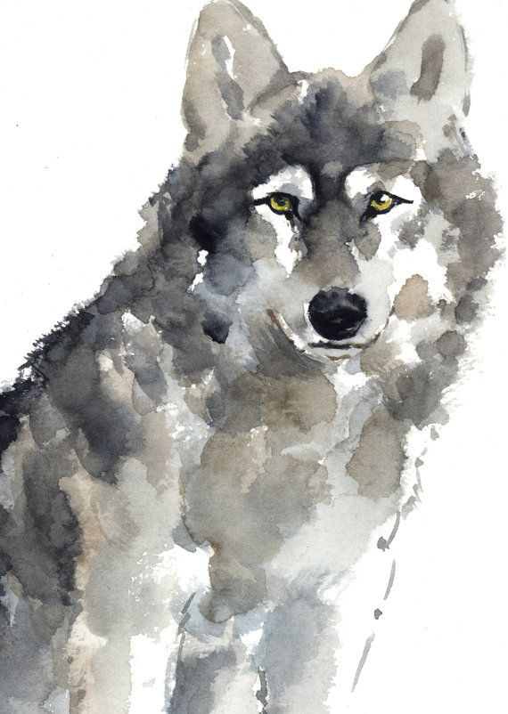 Wolf Watercolor Painting Animal Kids Room Decor Brown And Gray