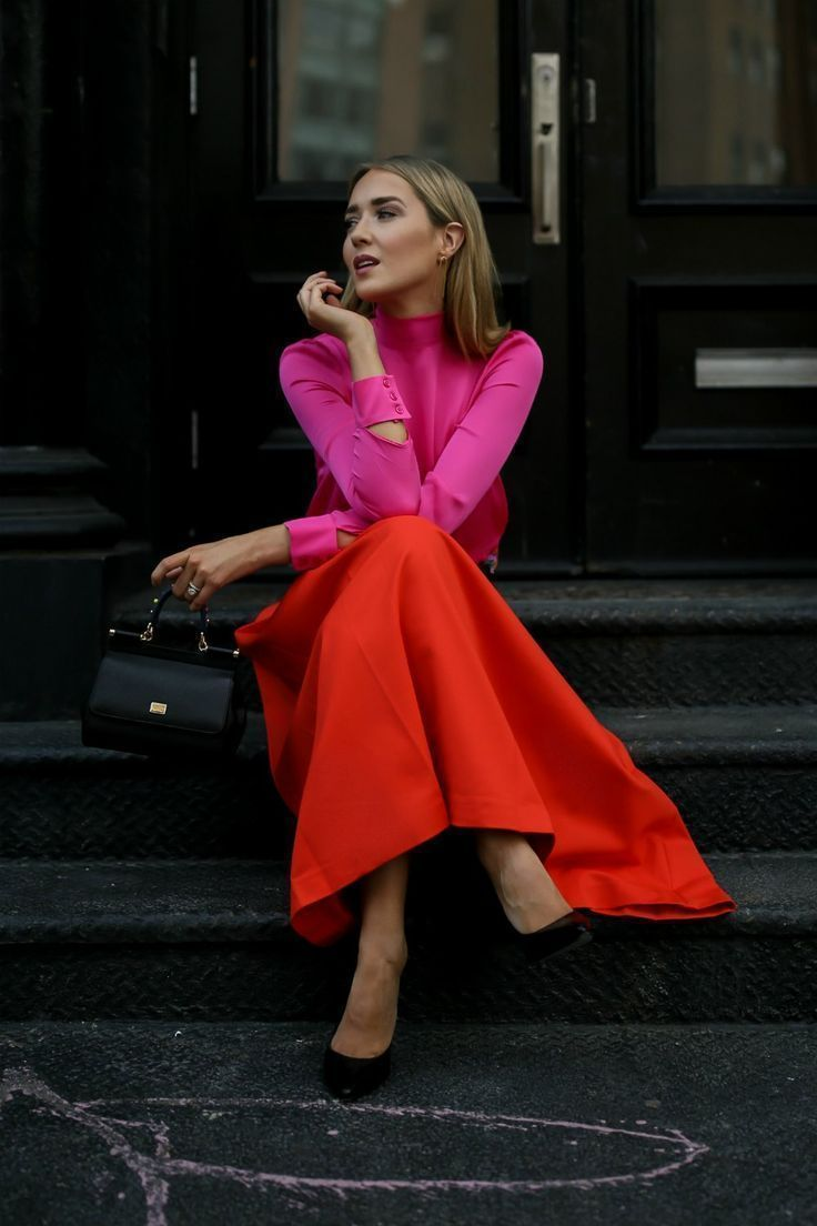 Click for outfit details fuchsia pink bowtie blouse orange