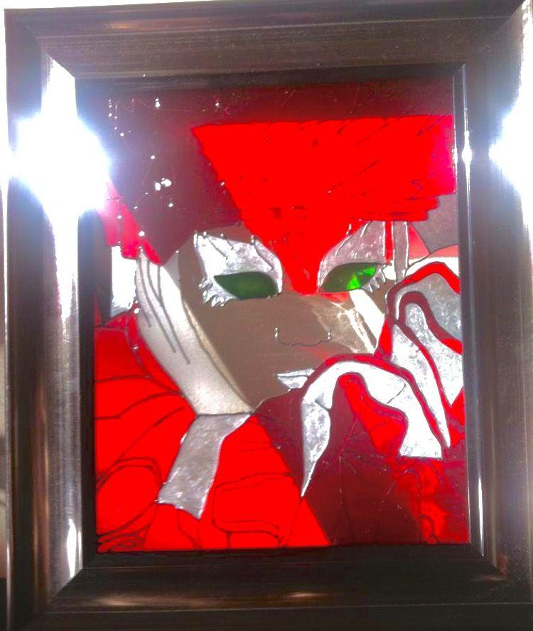 La dame en rouge peinture faux vitrail peinture sur verre, cadre