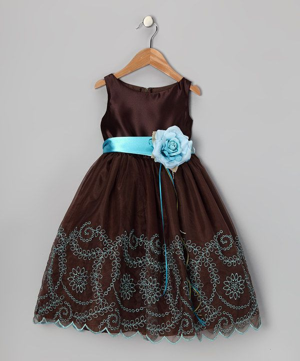 Take a look at this Chocolate Embroidered Flower Dress - Toddler & Girls on zulily today!