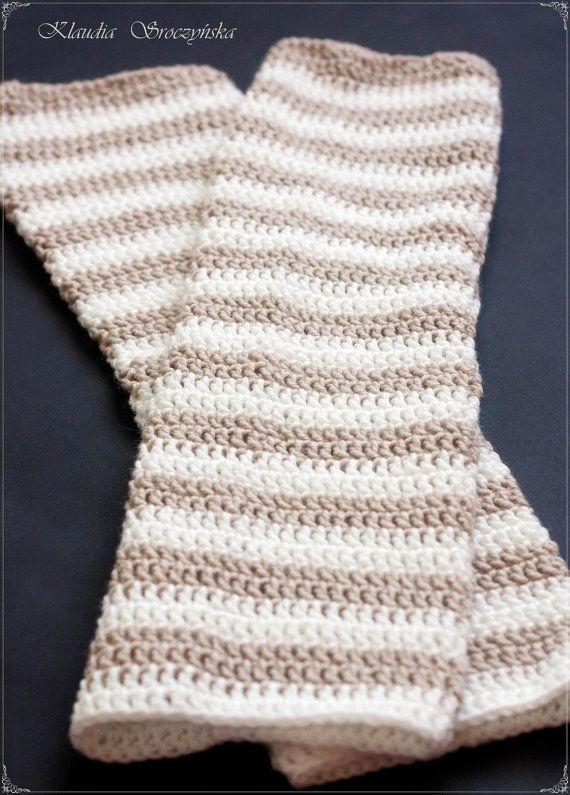 Crochet leg warmers in white and fawn stripes | Crochet & Knitting ...